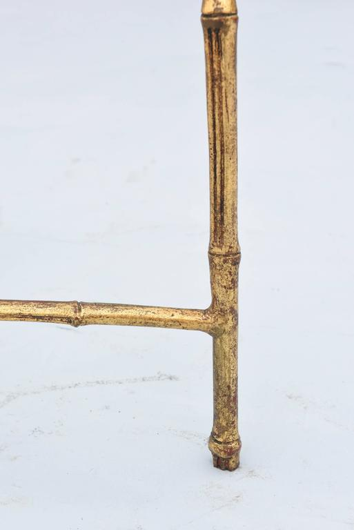 Gilded Iron Faux Bamboo Accent Table For Sale 1