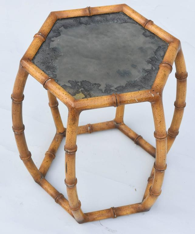 Italian Gold Gilt Iron And Glass Faux Bamboo Metal Square: Faux Bamboo Painted Iron Accent Table At 1stdibs