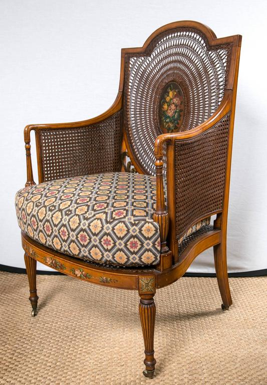 British Paint Decorated and Caned Edwardian Armchair For Sale