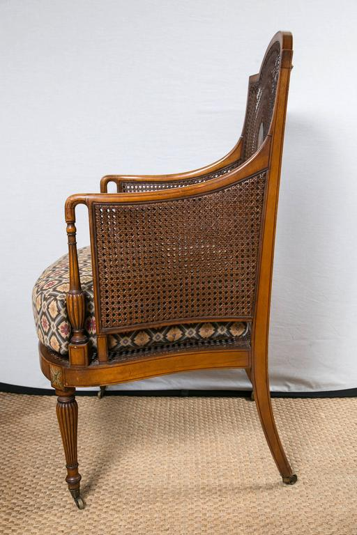 Hand-Crafted Paint Decorated and Caned Edwardian Armchair For Sale