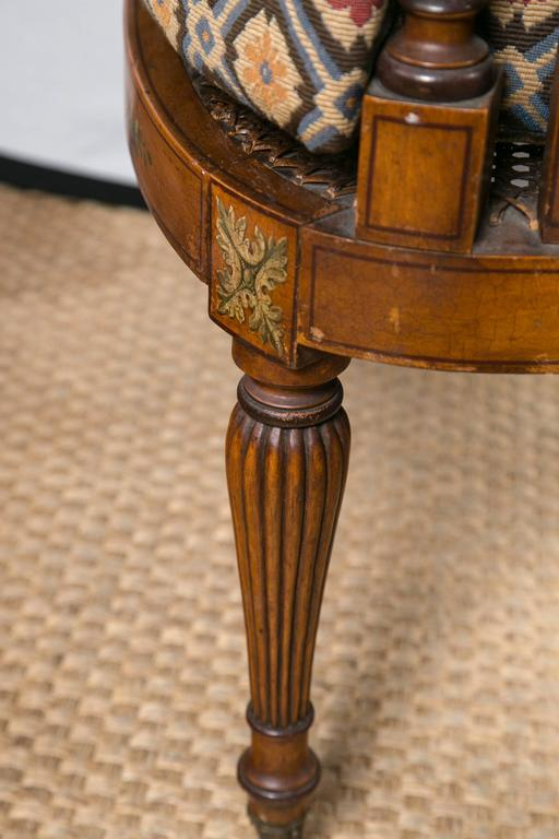 Paint Decorated and Caned Edwardian Armchair In Excellent Condition For Sale In Woodbury, CT