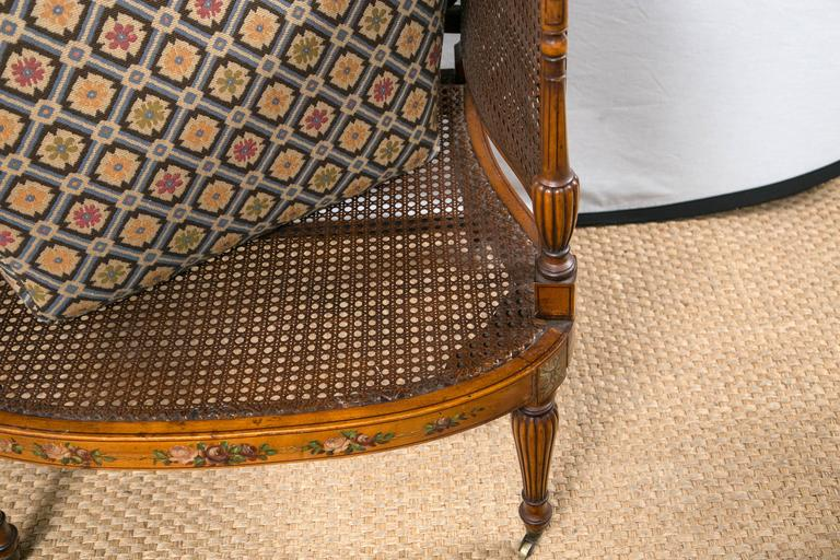 Paint Decorated and Caned Edwardian Armchair For Sale 1