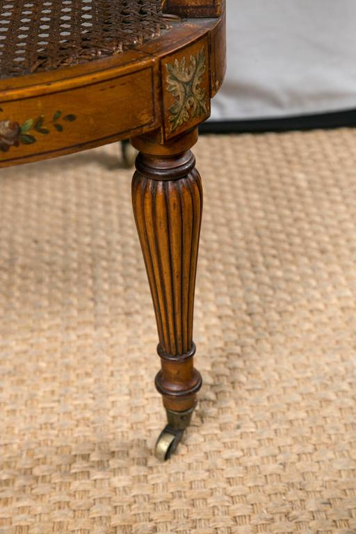 Paint Decorated and Caned Edwardian Armchair For Sale 2