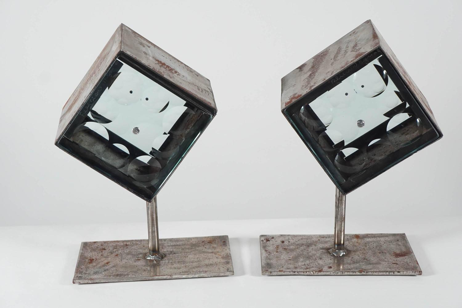 Feliciano behar glass and metal pair of sculptures for
