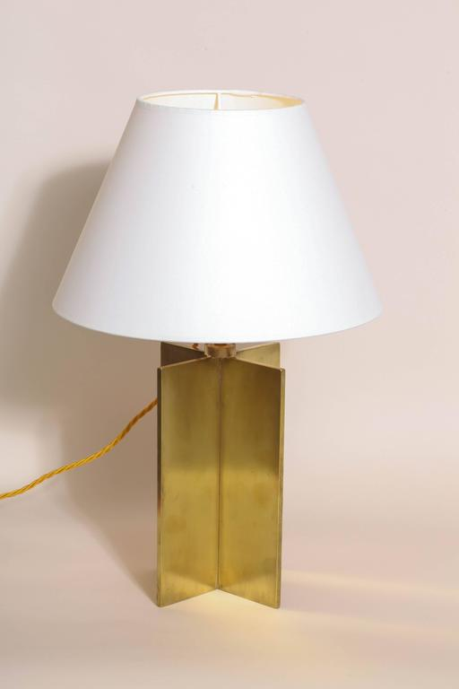 Brass Jean-Michel Frank French Art Deco Pair of 'Croisillon' Table Lamps For Sale