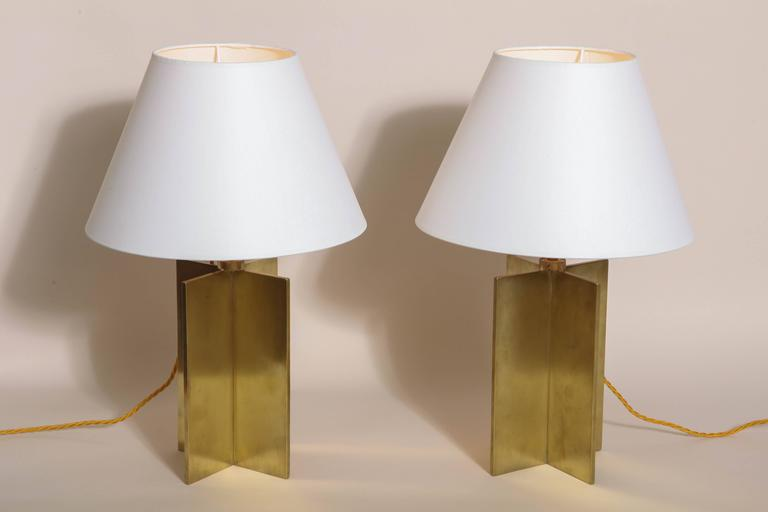 Jean-Michel Frank French Art Deco Pair of 'Croisillon' Table Lamps For Sale 1