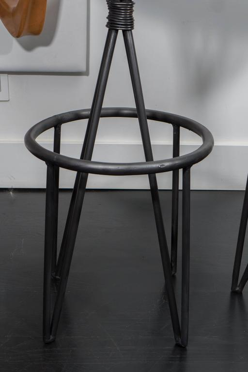 American Leather and Iron Barstools For Sale