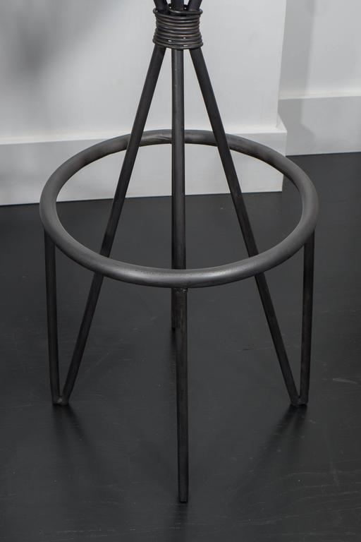 Leather and Iron Barstools For Sale 2