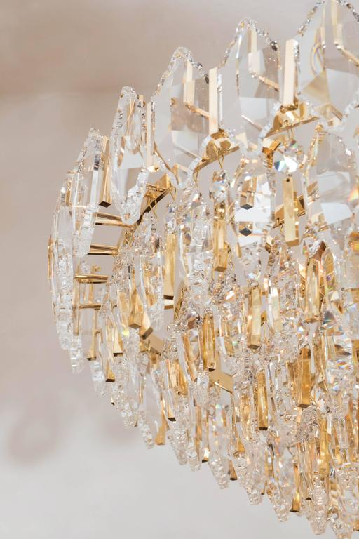 Tiered Brass and Crystal Chandelier For Sale 1