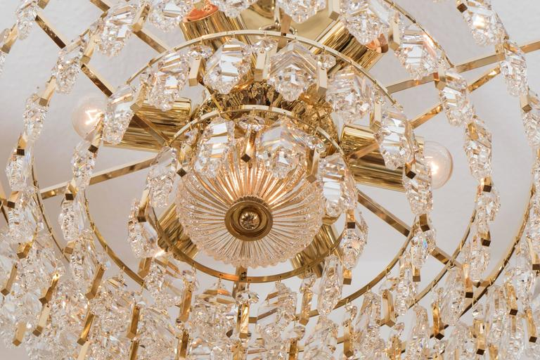 Tiered Brass and Crystal Chandelier For Sale 3