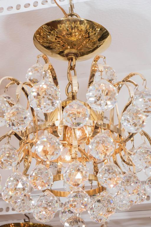Austrian Brass Crystal Drop Chandelier For Sale