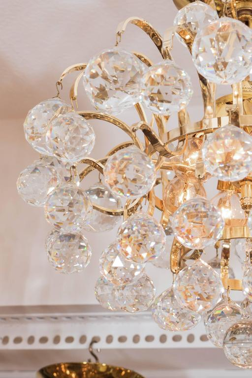 Mid-20th Century Brass Crystal Drop Chandelier For Sale