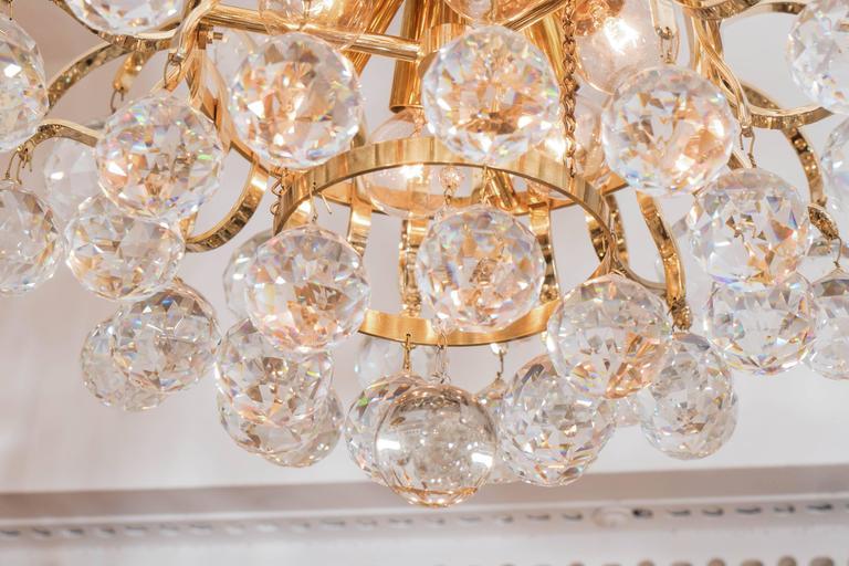 Brass Crystal Drop Chandelier For Sale 1