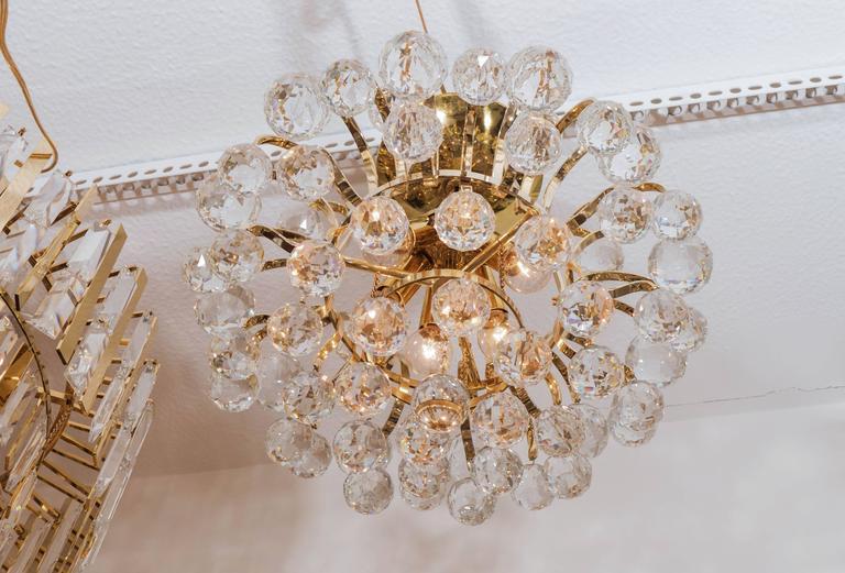 Brass Crystal Drop Chandelier For Sale 2