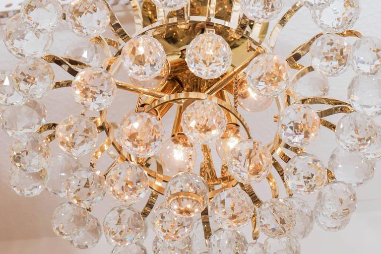 Brass Crystal Drop Chandelier For Sale 3