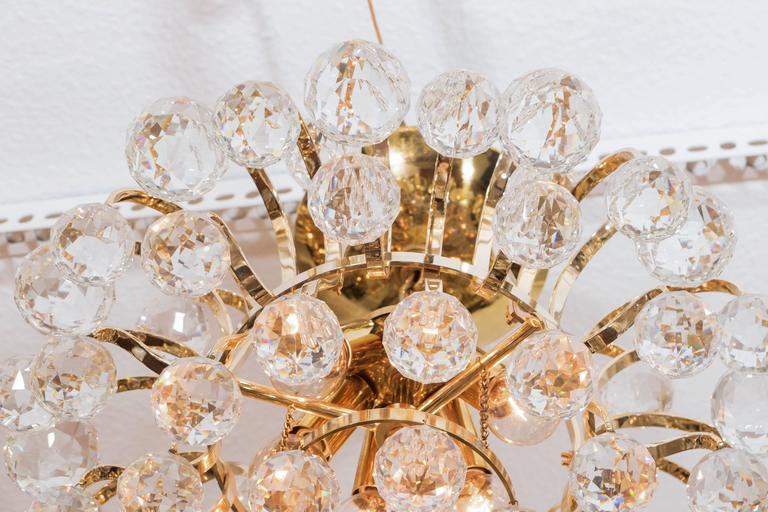 Brass Crystal Drop Chandelier For Sale 4