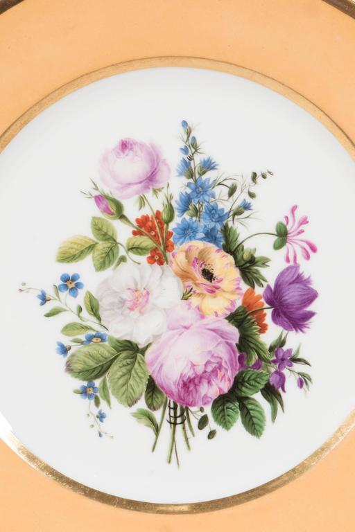 Rococo Pair Sèvres Dishes Hand-Painted with Bouquets of Flowers and an Apricot Border For Sale
