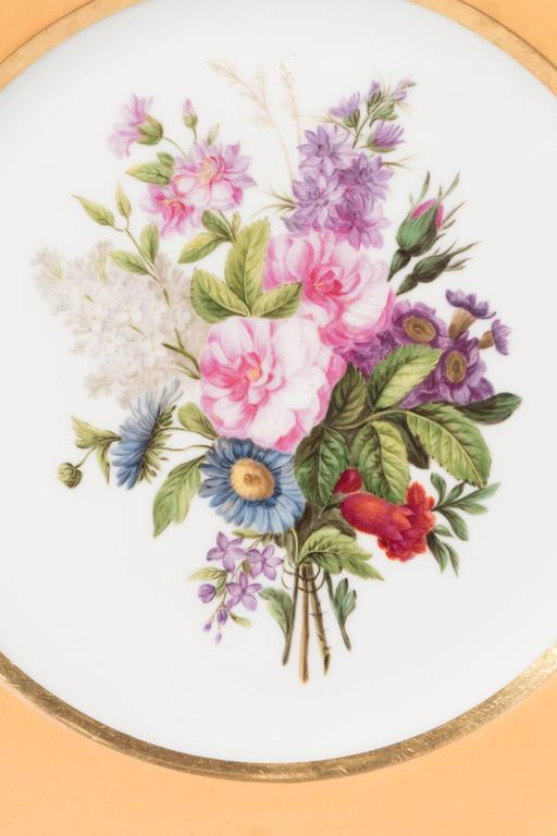 Pair Sèvres Dishes Hand-Painted with Bouquets of Flowers and an Apricot Border In Excellent Condition For Sale In New York, NY