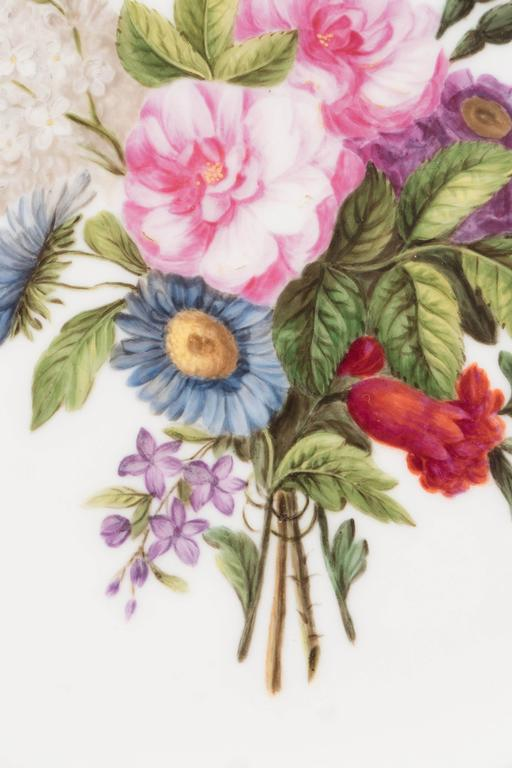 19th Century Pair Sèvres Dishes Hand-Painted with Bouquets of Flowers and an Apricot Border For Sale