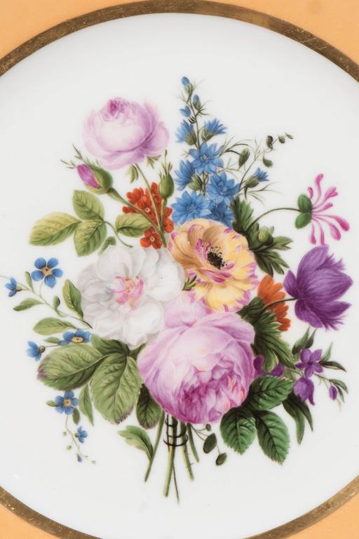 Pair Sèvres Dishes Hand-Painted with Bouquets of Flowers and an Apricot Border For Sale 1
