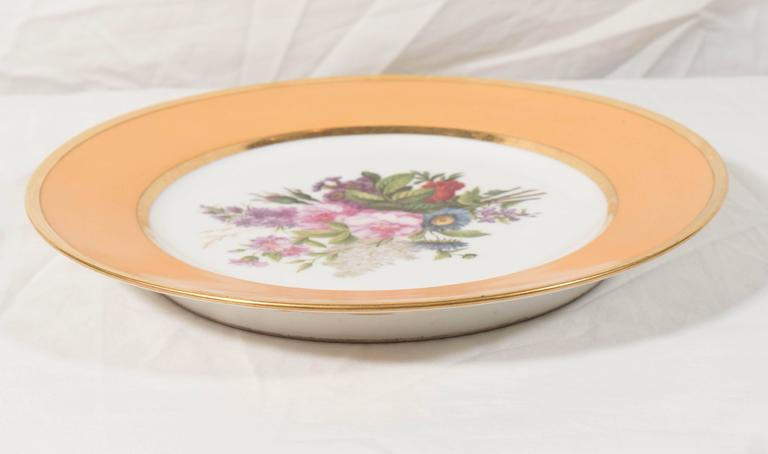 Pair Sèvres Dishes Hand-Painted with Bouquets of Flowers and an Apricot Border For Sale 2