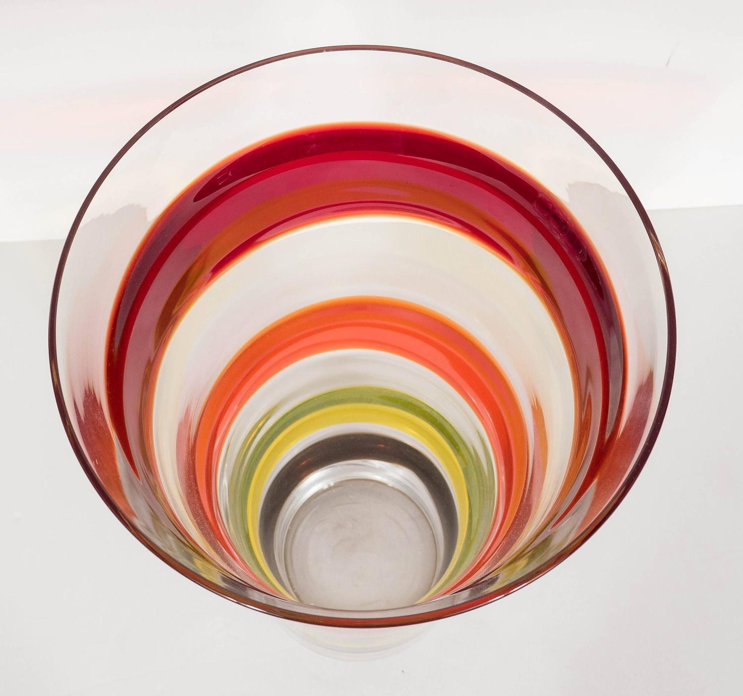 Clear vase with red orange yellow and grey bands for sale at 1stdibs
