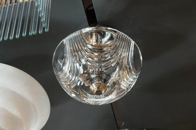Art Deco Style Flush Mount Chandelier With Hand Cut