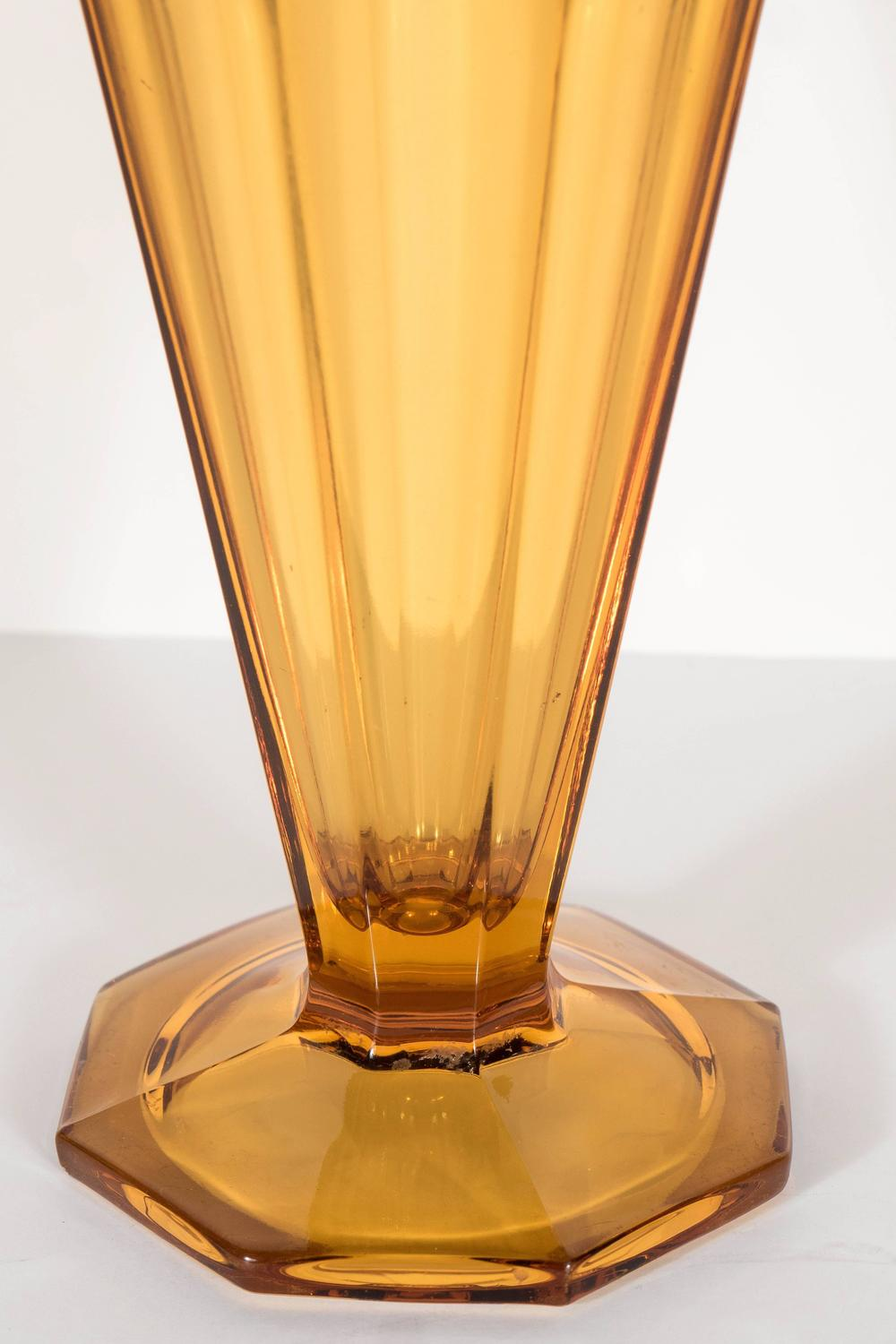 art deco skyscraper style amber molded glass vase at 1stdibs. Black Bedroom Furniture Sets. Home Design Ideas