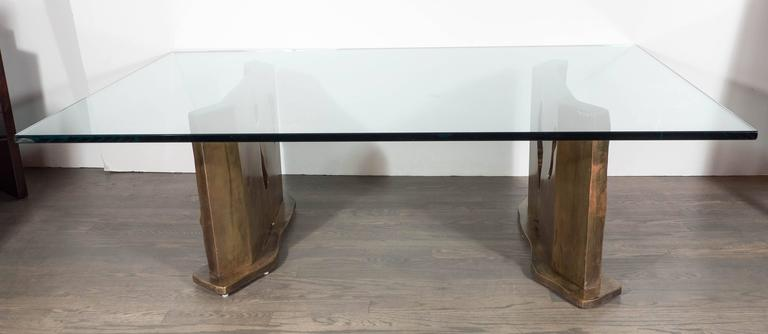 Mid-Century Modern Sculptural Figurative Bronze Cocktail Table, Signed Philip and Kelvin LaVerne For Sale
