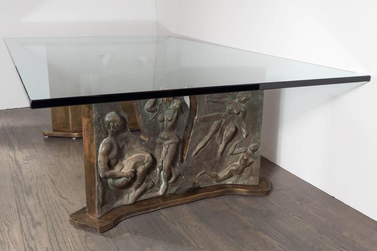 American Sculptural Figurative Bronze Cocktail Table, Signed Philip and Kelvin LaVerne For Sale