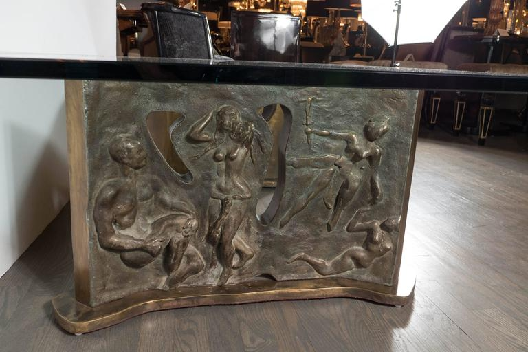 Sculptural Figurative Bronze Cocktail Table, Signed Philip and Kelvin LaVerne For Sale 3