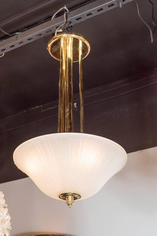 Art Deco Elegant Art-Deco Frosted Fluted Glass Dome Pendant with Polished Brass Fittings For Sale