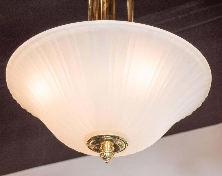 French Elegant Art-Deco Frosted Fluted Glass Dome Pendant with Polished Brass Fittings For Sale