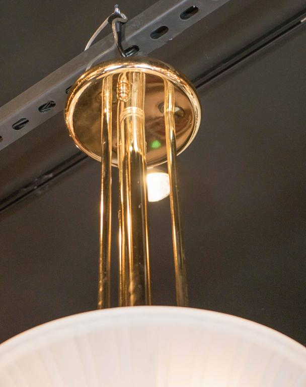 Elegant Art-Deco Frosted Fluted Glass Dome Pendant with Polished Brass Fittings For Sale 4