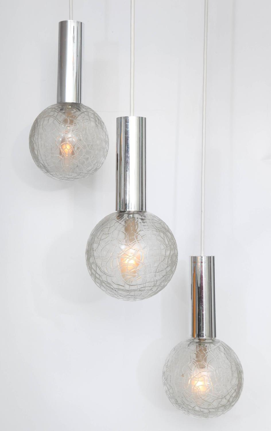Three Globed Pendant Light Fixture For Sale At 1stdibs
