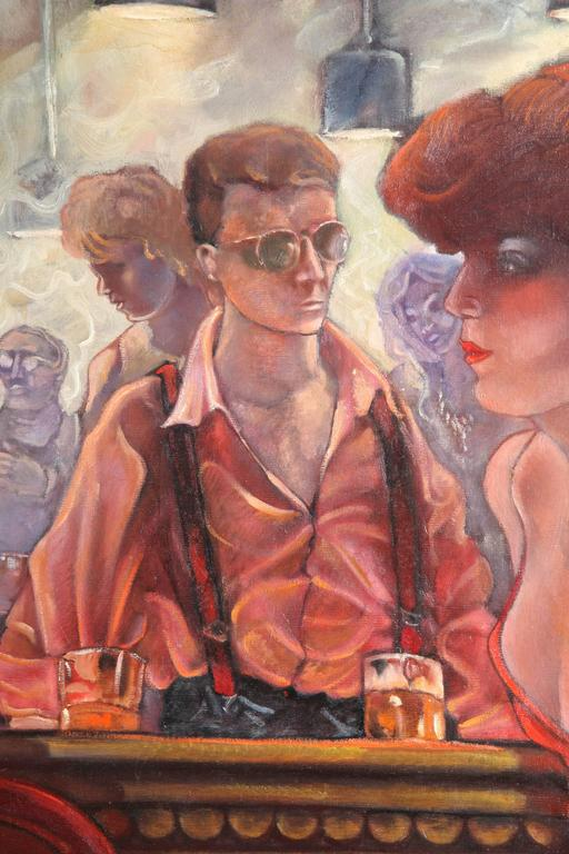 American Bartender and the Ladies Oil on Canvas by Keith Keller For Sale