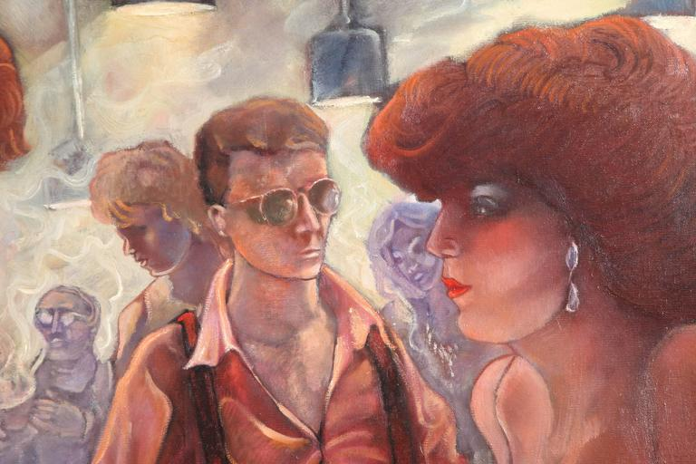 Late 20th Century Bartender and the Ladies Oil on Canvas by Keith Keller For Sale