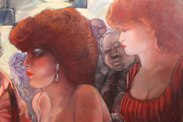 Bartender and the Ladies Oil on Canvas by Keith Keller For Sale 1