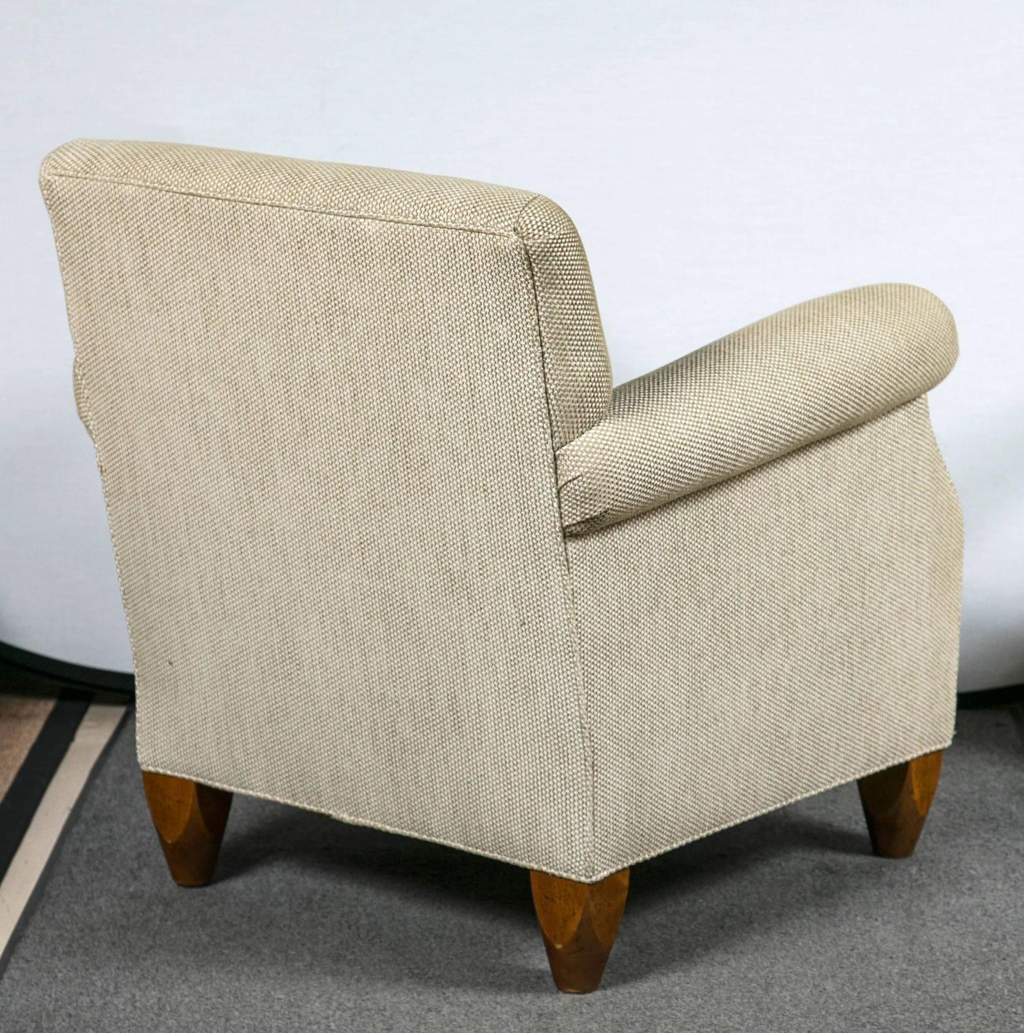 Pair of baker overstuffed armchairs at 1stdibs for Overstuffed armchair