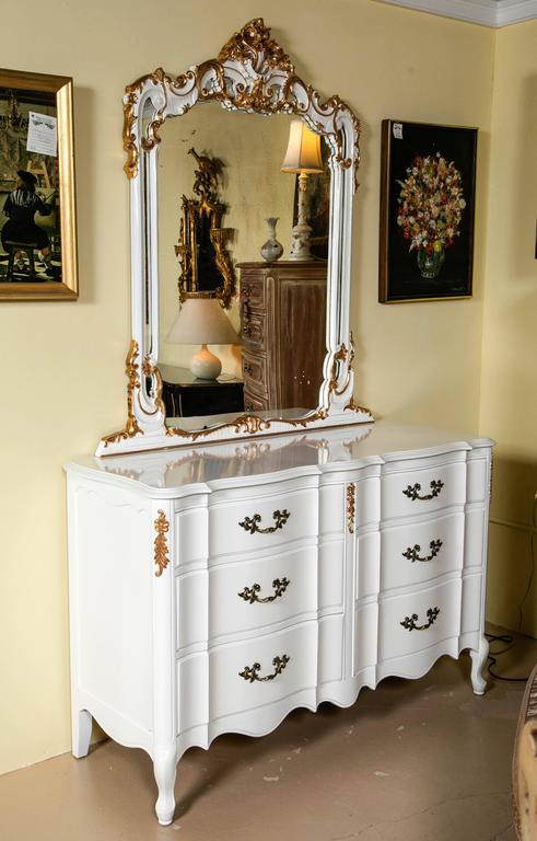 Louis Xv Style Paint And Gilt Gold Wall Or Dresser Mirror The Swaying Curved