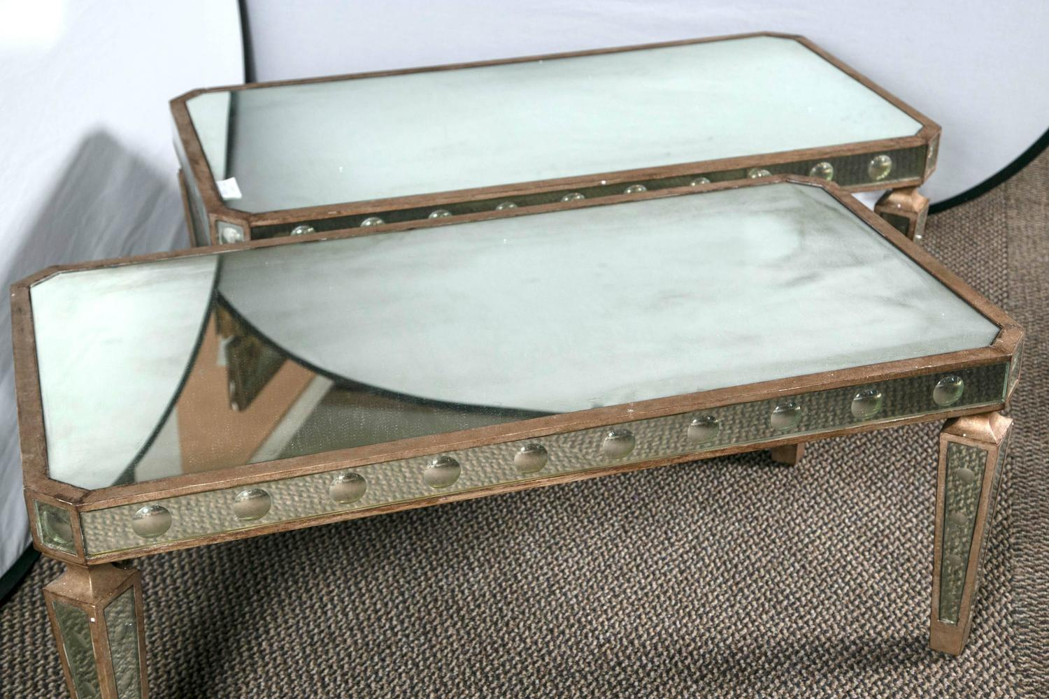 Pair Of Hollywood Regency Silver Gilt Wooden And Mirrored Coffee Tables For Sale At 1stdibs