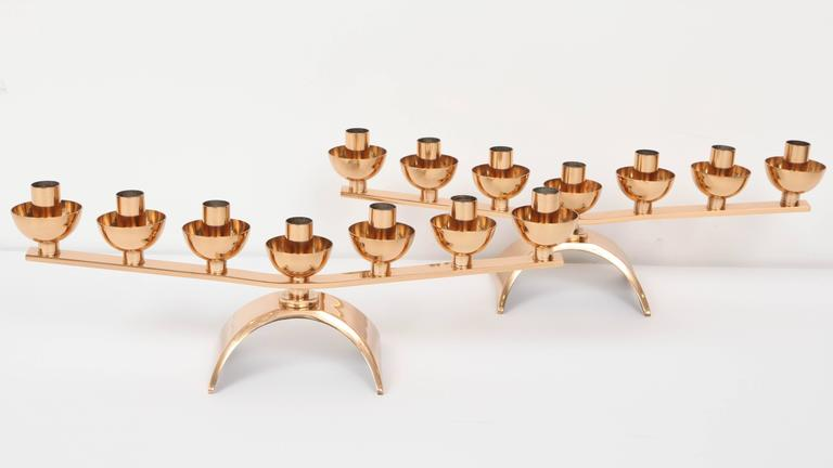 Pair of Brass Mid-Century Modern Candleholders In Excellent Condition For Sale In New York, NY