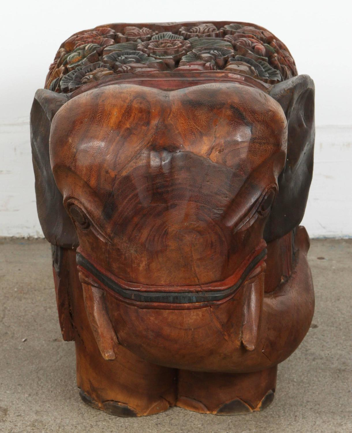 Hand Carved Elephant Wooden Stool For Sale At 1stdibs