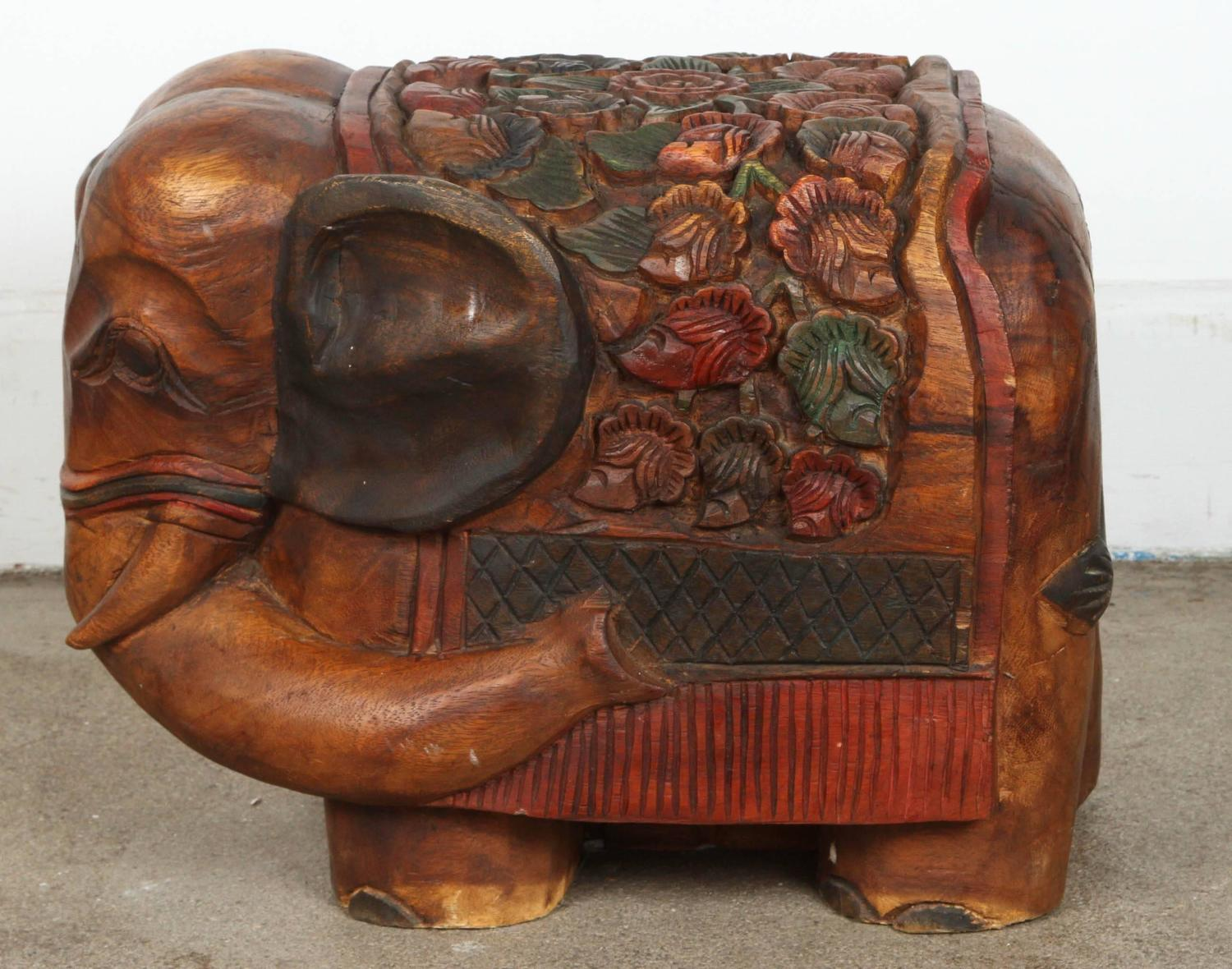 Hand carved elephant wooden stool for sale at stdibs