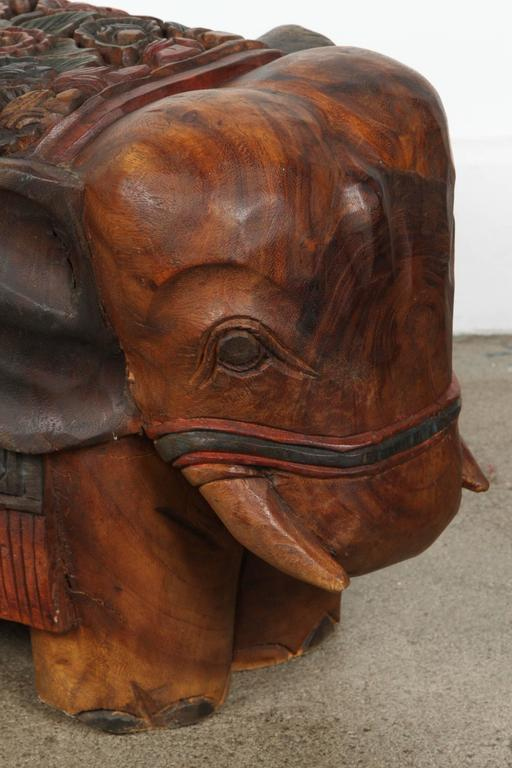 Hand Carved Elephant Wooden Stool At 1stdibs