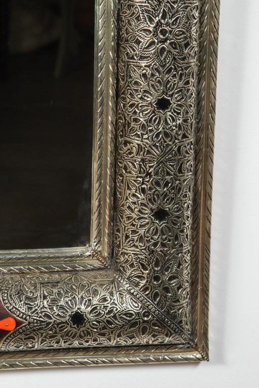 Moroccan Mirror with Silver and Leather Design at 1stdibs