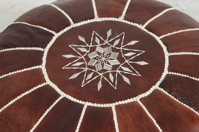 Mid-Century Modern Moroccan Brown Hand Tooled Leather Pouf For Sale