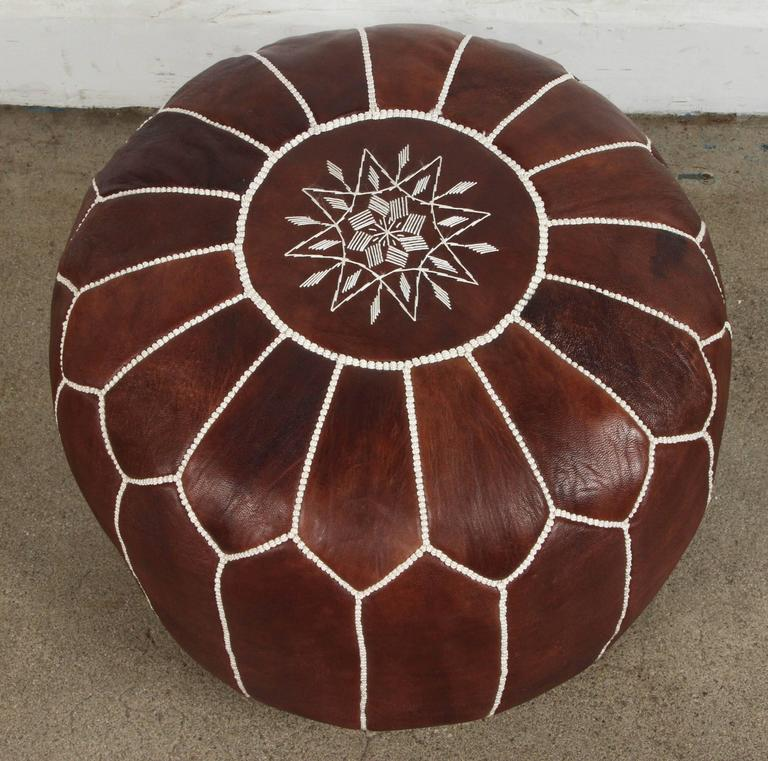 Embroidered Moroccan Brown Hand Tooled Leather Pouf For Sale