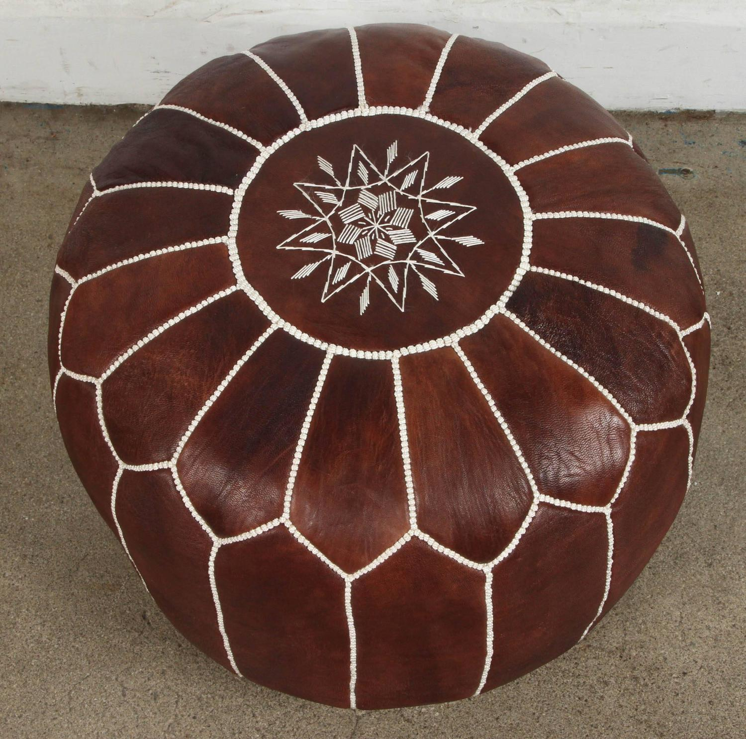 Moroccan Brown Leather Pouf For Sale At 1stdibs