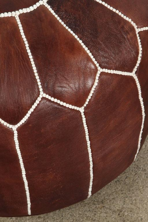 Moroccan Brown Hand Tooled Leather Pouf In Excellent Condition For Sale In Los Angeles, CA